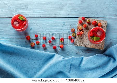berry smoothie of strawberries and raspberries flat lay