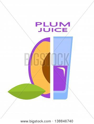 Vector Illustration of the plum juice with the text.