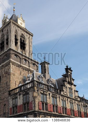Delft Netherlands - July 6 2016: Architectural detail of the medieval town hall in the city of Delft.