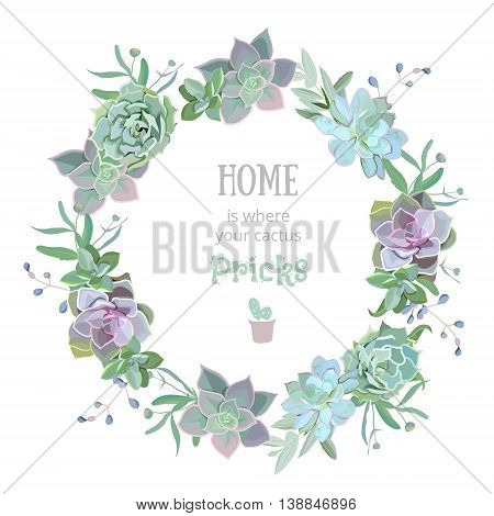 Green colorful succulent Echeveria vector design round frame. Natural cactus card in modern funky style.