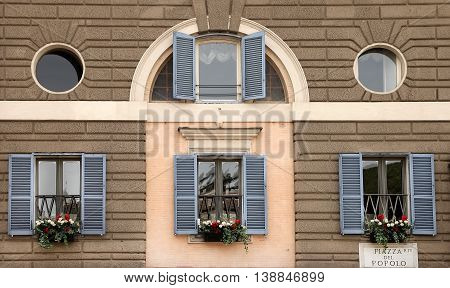 Window decoration with flowers. Rome Italy Piazza del Popolo
