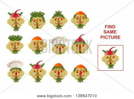 Cartoon Illustration of Finding the Same Picture. Educational Game for Preschool Children.