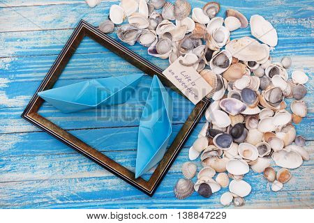 Sign Life Is An Adventure With Shells And Photo Frame. Vocation Background