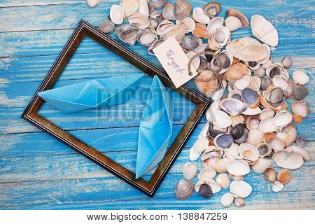 Sign Target With Shells And Photo Frame. Vocation Background