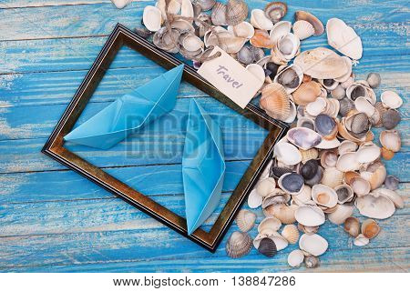 Sign Travel With Shells And Photo Frame. Vocation Background
