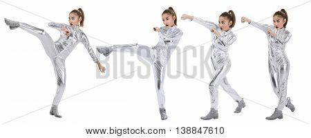 Woman In Latex Suit With Fight Stance