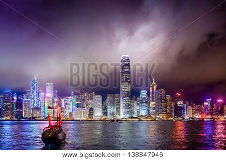 Hong Kong, China skyline on Victoria Harbor.