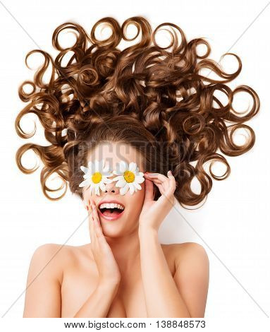 Woman Hair Curls Girl Hairstyle White Daisy Flowers Glasses On Eyes