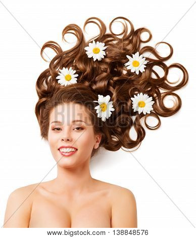 Woman Hair Flowers Fashion Curly Hairstyle Portrait White Color Daisies
