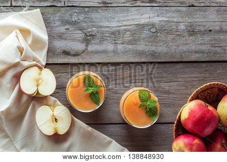chopped apple and fruit smoothie top view
