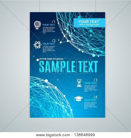 Card, Flyer or Placard with Abstract Geometry Sphere. Concept Of Scientific Research. Vector illustration