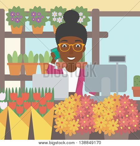 An african-american female florist using telephone and laptop to take orders for flower shop. A florist standing behind the counter at flower shop. Vector flat design illustration. Square layout.