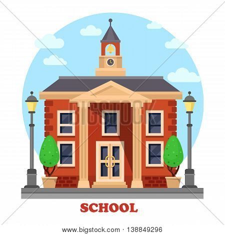 Primary or elementary, secondary or grade, middle or high school facade for education, teaching and learning with clock and bell on tower, bushes or trees, columns and steps, lamp or lantern