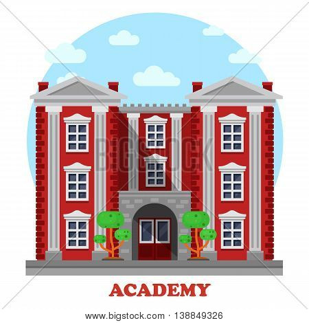 National military or science academy for secondary or higher education or study facade of building with columns and steps, trees or bushes side view panorama