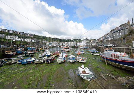 Mevagissey Cornwall United Kingdom - July 02 2016: Harbour of small Cornish fishing village