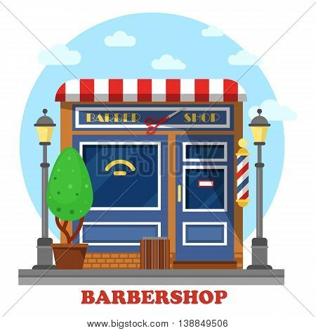 Barbershop or barbers store or shop building where hairdresser or stylist make haircuts and shaving and cutting beards. Facade with scissors and bush, lamp and garbage can
