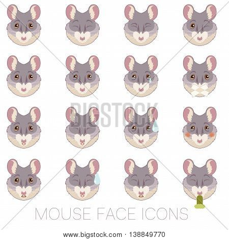 Vector image of the Set of Mouse faces