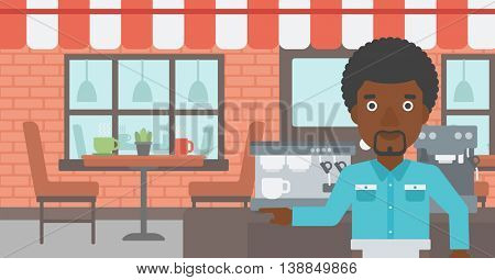 An african-american barista sanding in front of coffee machine. Barista at coffee shop. Barista making a cup of coffee. Vector flat design illustration. Horizontal layout.