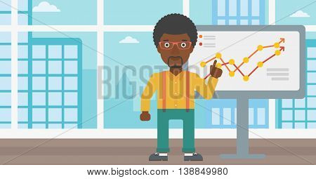 An african-american businessman pointing at charts on a board during business presentation. Businessman giving business presentation. Vector flat design illustration. Horizontal layout.
