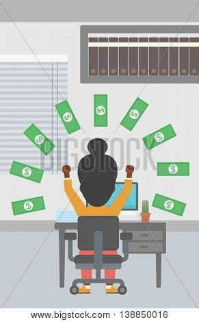 An african-american business woman with raised hands celebrating while sitting at workplace under money rain. Successful business concept. Vector flat design illustration. Vertical layout.