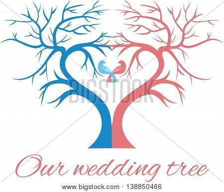 The wedding tree in the shape of a heart with two birds