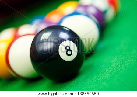 Different points of view billiard balls on a blue pool table, Black number eight