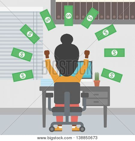 An african-american business woman with raised hands celebrating while sitting at workplace under money rain. Successful business concept. Vector flat design illustration. Square layout.