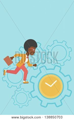 An african-american young business woman with briefcase running on a blue background with clock and cogwheels. Vector flat design illustration. Vertical layout.