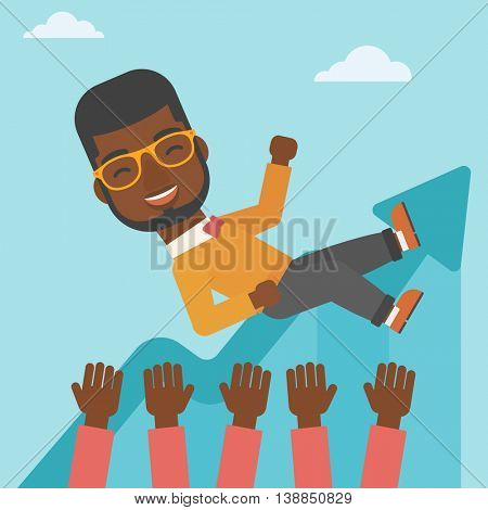 An african-american young businessman get thrown into the air by coworkers during celebration. Successful business concept. Vector flat design illustration. Square layout.