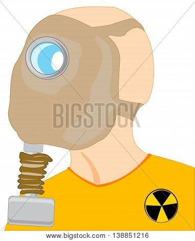 Head of the person in gas mask on white background is insulated