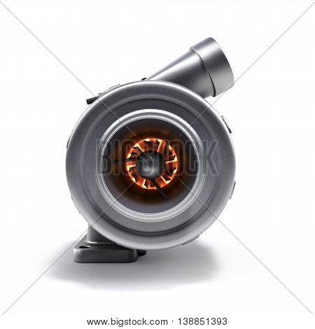 Automotive Turbocharger Turbine 3D Render On White