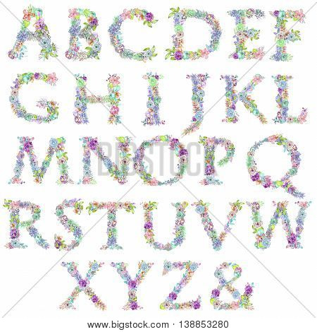 English alphabet of watercolor flowers, isolated hand drawn on a white background, wedding design, english capital letters for the festive and wedding decor and cards