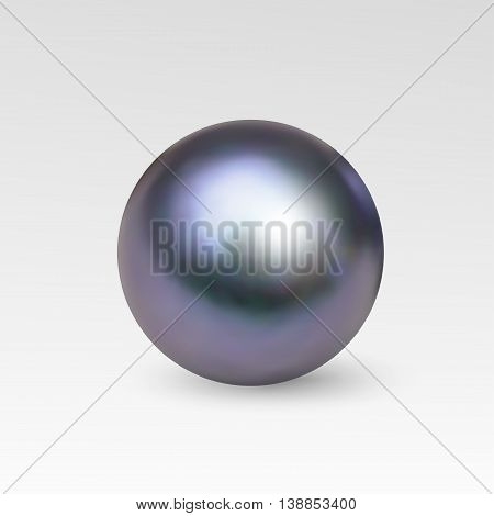 Pearl realistic isolated on white background. Spherical beautiful 3D orb with transparent glares and highlights for decoration. Jewelry gemstones. Vector Illustration for your design and business.