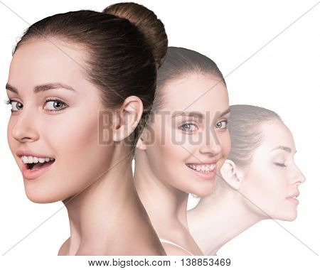 Three perfect faces of beauty girl isolated on white background