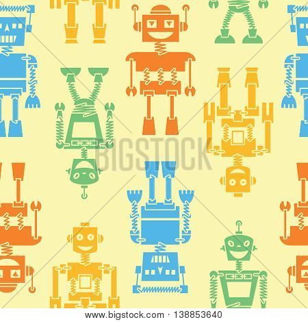 Cute retro robots color silhouette vector background seamless pattern