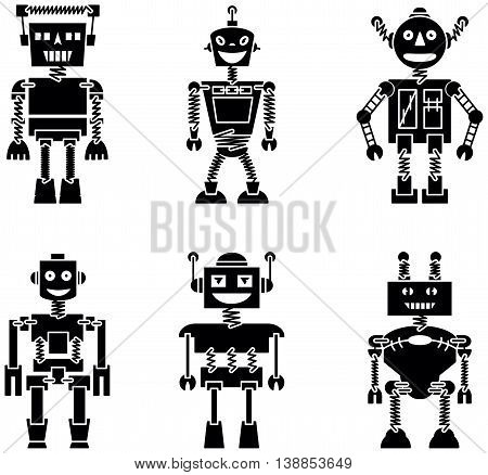 Retro vector robots black silhouette set isolated on white background