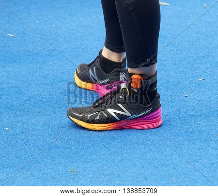 STOCKHOLM - JUL 02 2016: Closeup of a professional triathlon shoes and feet in the Women's ITU World Triathlon series event July 02 2016 in Stockholm Sweden