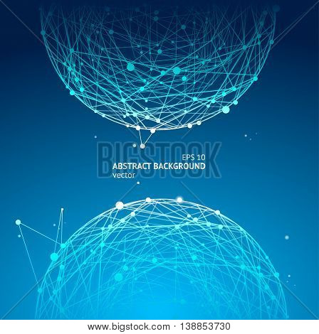 Abstract Geometry Sphere Background. Blue Shape with Lines Mesh and Dots. Vector illustration