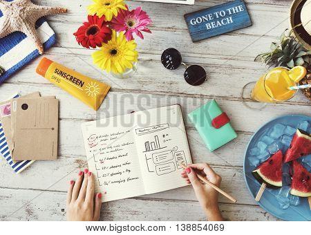 Notebook Plan Writing Sunscreen Summer Concept