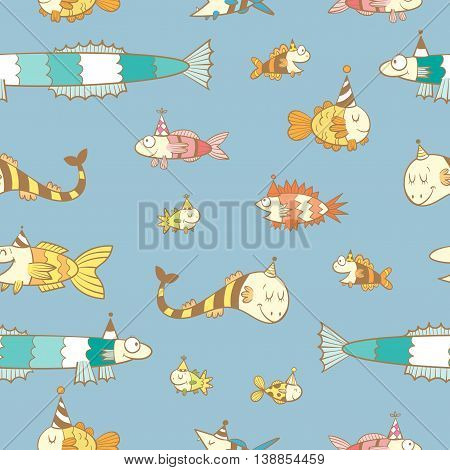 Birthday seamless pattern with cute cartoon colorful fishes  in party hat  on  blue  background. Underwater life. Funny sea animals. Children's illustration. Vector image.