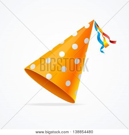 Orange Party Hat with White Dots Isolated on White Background. Vector illustration