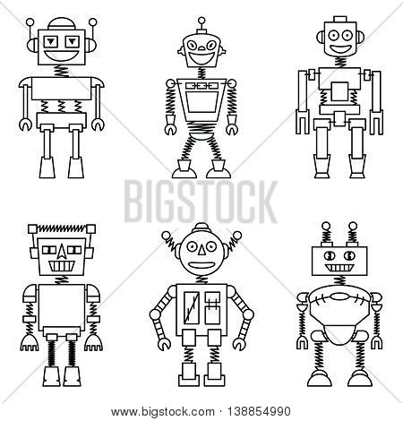 Retro vector smart robots set isolated on white background