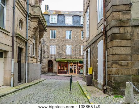 SAINT MALO FRANCE - MAY 2 2014: The Intramuros - Internal City of Saint Malo. Brittany, France