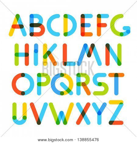 Multiply geometric colorful letters. Design elements