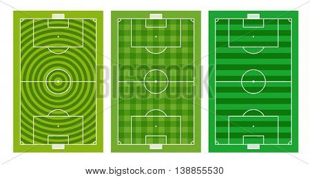 Different green football fields collection