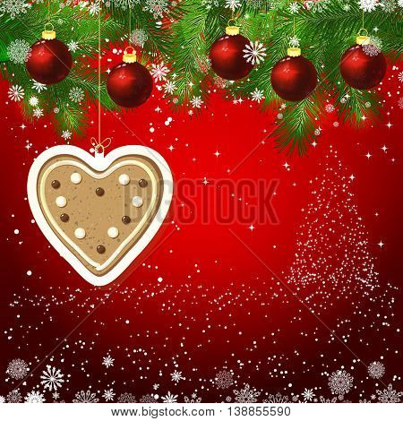 Vector gingerbread heart New Year design background. Template card whit red Christmas balls on the green branches. Silhouette of a Christmas tree made of stars. Falling snow.