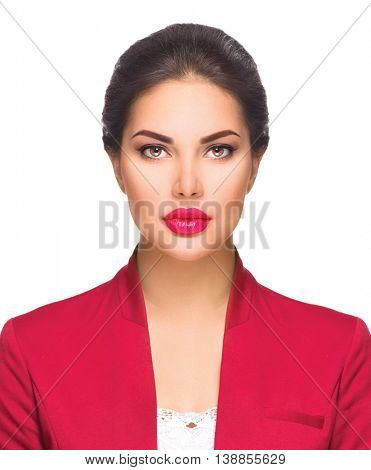 Headshot portrait of young beautiful woman isolated on white background. Business woman face