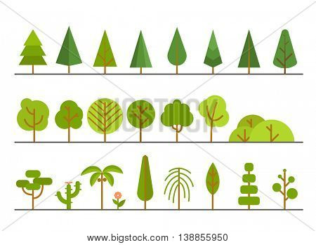 Different trees collection. Lineart design set