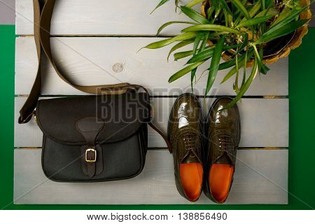 Green Lacquered Oxford Shoes And Crossbody Bag On Wooden Background Near Flower Pot. Top View. Close