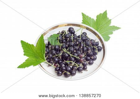 Berries of fresh blackcurrant on a saucer and leaves of a currant on a light background